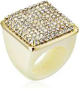 "Vince Camuto Golden Era Items"" Resin with Pave Crystal Ring, Size 8"