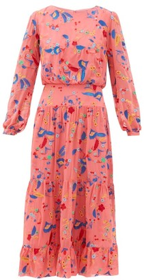 Saloni Isabel Floral-embroidered Silk Midi Dress - Womens - Pink Multi