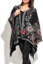 Everest Black Paisley Wool-Blend Cape - Plus Too