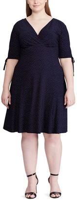 Chaps Plus Size Print Gathered-Sleeve Faux-Wrap Dress