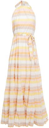 Zimmermann Primrose Striped Cotton Halterneck Maxi Dress