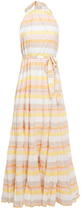 Zimmermann Primrose Striped Crinkled-cotton Halterneck Maxi Dress