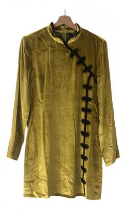 De La Vali Yellow Velvet Dresses