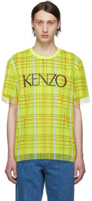 Kenzo Yellow Check Dual Material T-Shirt