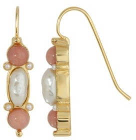2028 Gold-Tone Imitation Pearl and Semi Precious Carnelian Drop Earrings