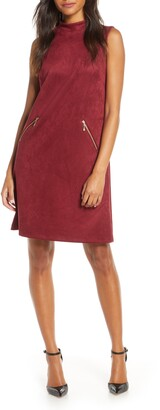 Donna Ricco Faux Suede Short Sleveless Dress