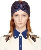 Gucci Blue and Red Lurex Supremette Turban