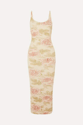 Paco Rabanne Floral-print Ribbed Cotton-blend Maxi Dress - Cream