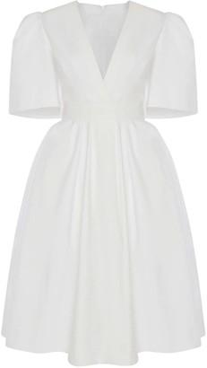 Alexander McQueen Cotton Piquet Knee Length Puff Dress