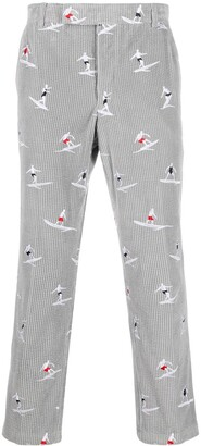 Thom Browne Embroidered Surfer Corduroy Trousers