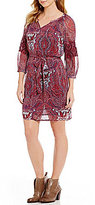 Lucky Brand Split V-Neck Paisley Print Tie-Waist Dress