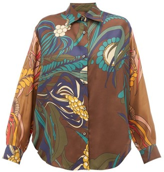 La Prestic Ouiston Varenne Floral-print Silk-twill Shirt - Brown Multi