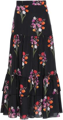 Borgo de Nor Tiered Floral-print Crepe De Chine Maxi Skirt
