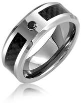 Bling Jewelry Mens Tungsten Wedding Band Ring Carbon Fiber Inlay 8mm