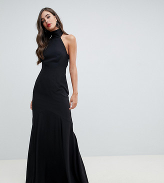 Asos DESIGN Tall high neck maxi dress in crepe