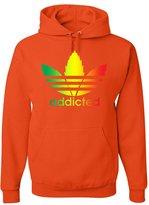 Tee Hunt Addicted Parody Hoodie Funny Smoking 420 Weed Kush Sweatshirt L