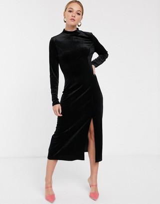 Glamorous high neck midi dress in velvet-Black