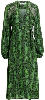 Rotate by Birger Christensen Kira Python Print Puff-Sleeve Midi Wrap Dress