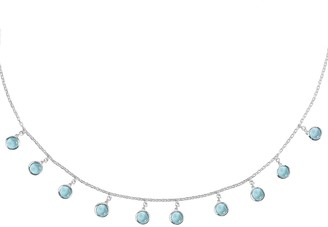 Latelita Florence Round Gemstone Necklace Silver Blue Topaz