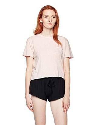 Painted Heart Women's Loungewear Crew Neck Short Sleeve Crop Pocket Tee