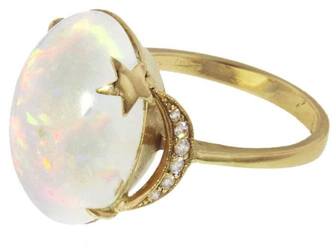 Andrea Fohrman Opal Crescent Moon And Star Ring