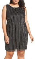 Pisarro Nights Plus Size Women's Embellished Mesh Sheath Dress