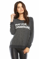 Chaser LA Pray for Champagne Long Sleeve Panel Tee in Black