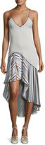 Jonathan Simkhai Multimedia Linear Print High-Low Dress, Blue Pattern