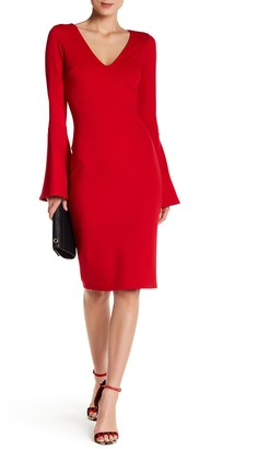 Just Me Bell Sleeve Bodycon Dress