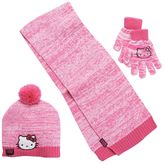 Hello Kitty Girls 4-16 Marled Pom-Pom Hat, Gloves & Scarf Set