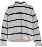 Ashish Striped Sequined Silk-georgette Turtleneck Top - Silver