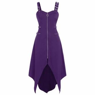 Hulky Women's Dresses HULKY Gothic Punk Style Women's Dress Plus Size Cool Zipper Irregular Hem Sleeveless Camisole Mini Dress with Adjustable Strap(Purple XX-Large)