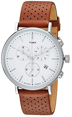 Timex Fairfield Chrono Leather (Brown/White) Watches