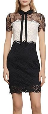 Sandro Rozen Two-Tone Lace Mini Dress