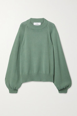 I Love Mr Mittens Oversized Cotton Sweater - Green