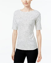 Charter Club Dot-Print Elbow-Sleeve Top, Only at Macy's