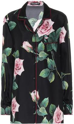 Dolce & Gabbana Floral silk-faille skirt
