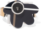 Marni Silver-tone, leather and horn bracelet