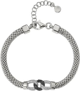 "Italian Silver 7-1/4"" Crystal Station Mesh Bracelet, 7.7g"