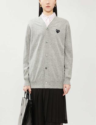 Comme des Garcons Heart-applique wool cardigan