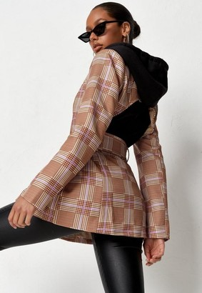 Missguided Brown Co Ord Plaid Open Back Blazer