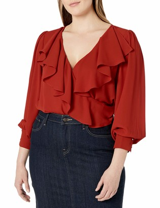 City Chic Women's Apparel Women's Plus Size Relaxed top with wrap Over Ruffle Detail