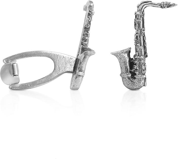 Forzieri Sterling Silver Sax Florentine Handmade Cufflinks