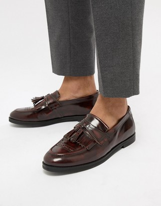 House Of Hounds Archer tassel loafers in burgundy-Red