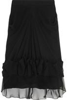 Givenchy Ruched And Draped Silk-chiffon Skirt - Black