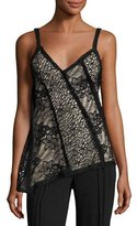 Jason Wu Lace Asymmetric-Hem Tank, Black