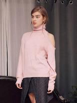 Wardrobe Oneside Offshoulder Knit_pink