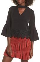 Moon River Women's Lace Hem Bell Sleeve Top