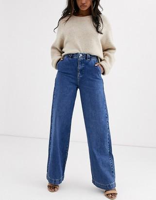 Vero Moda Aware wide leg jeans in mid blue denim