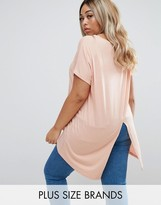 Junarose Short Sleeve Split Back Jersey Top
